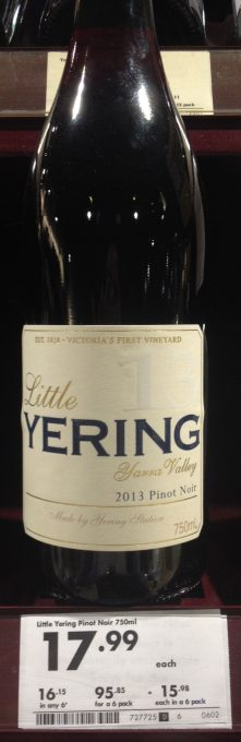YERING STATION Little YERING Pinot Noir 2013 (Yarra Valley) $17.99